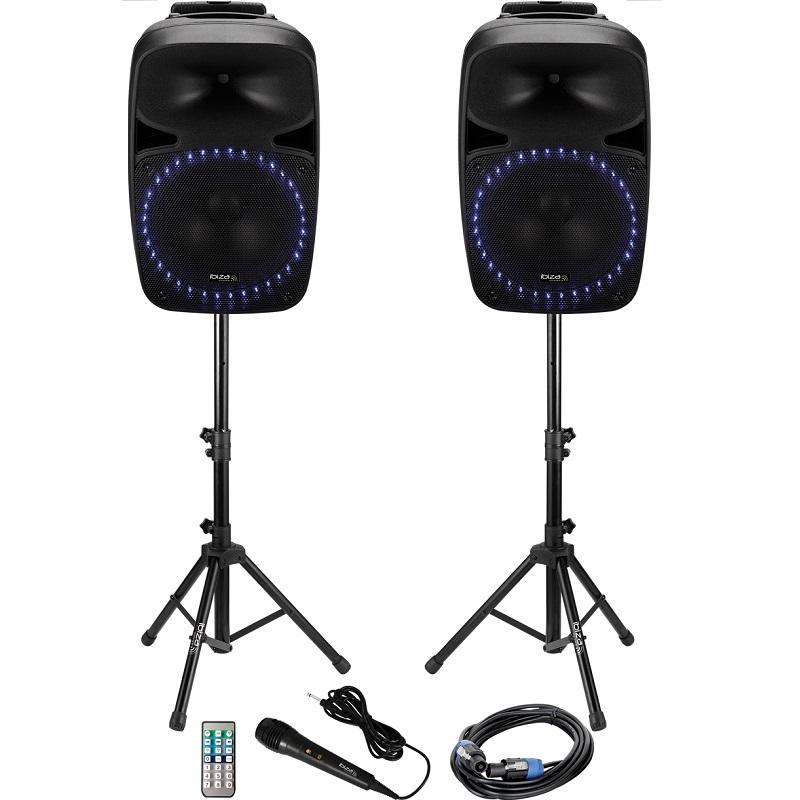Kit sonorizare 2x15 inch/38cm 2x250w 1 activ + 1 pasiv usb/sd/bt