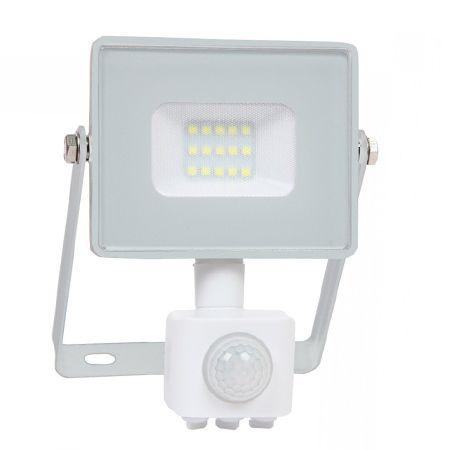 Reflector led smd 10w 6400k ip65 cu senzor miscare - alb